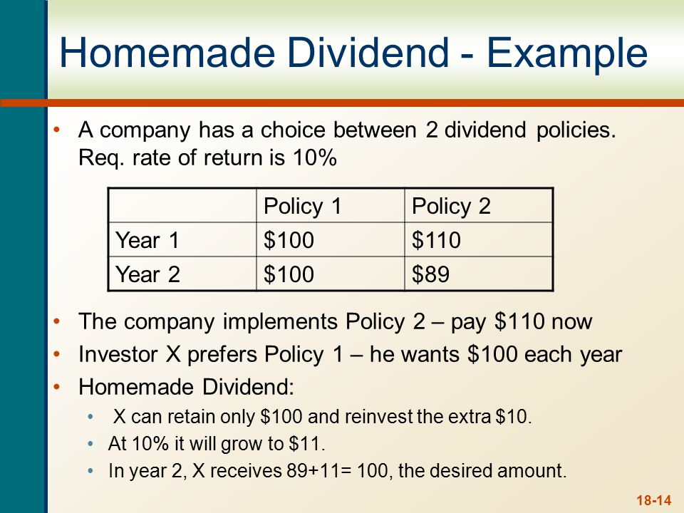 Homemade Dividends - Example