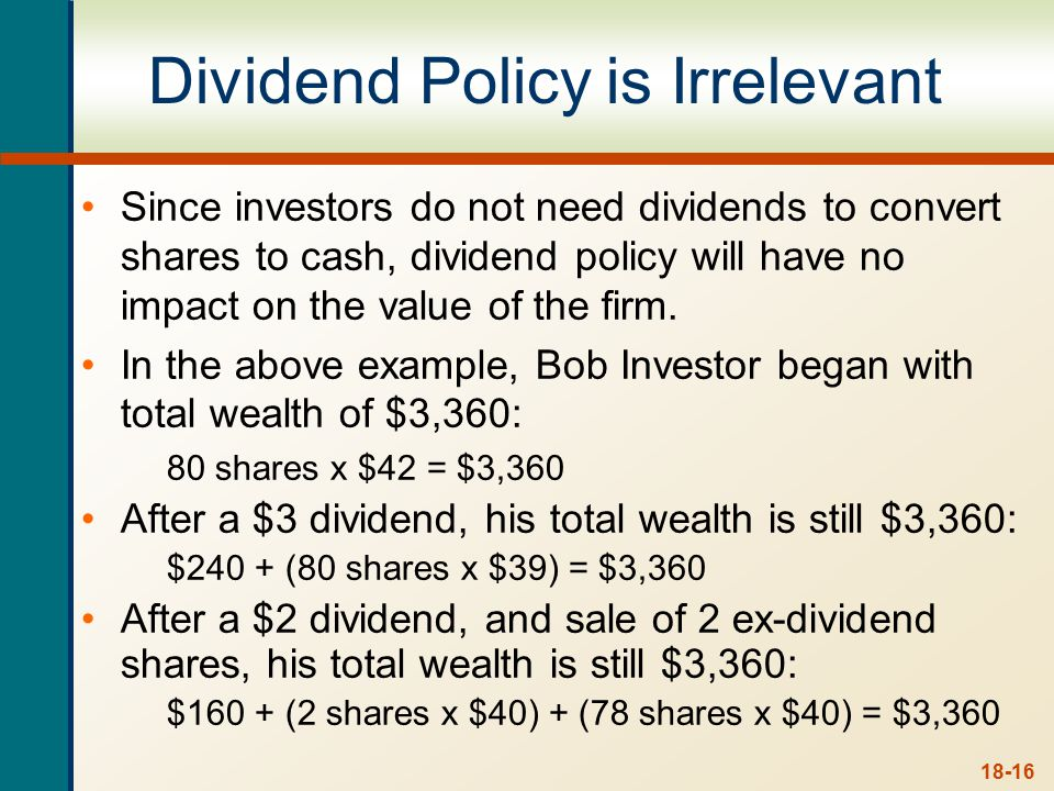 Contrary Views Others believe dividend policy is relevant.