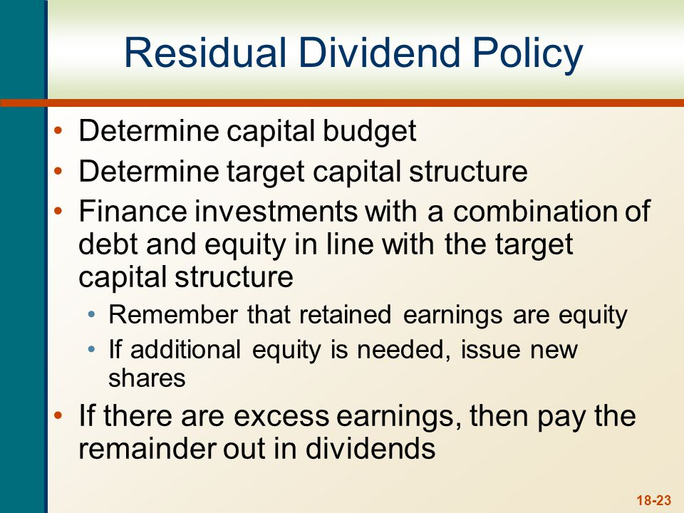 Example – Residual Dividend Policy