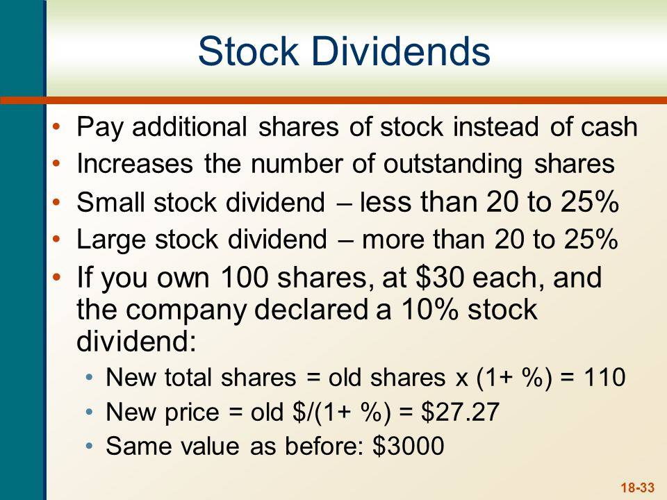 Stock Splits Stock splits – essentially the same as a stock dividend except expressed as a ratio. Stock price is reduced when the stock splits.