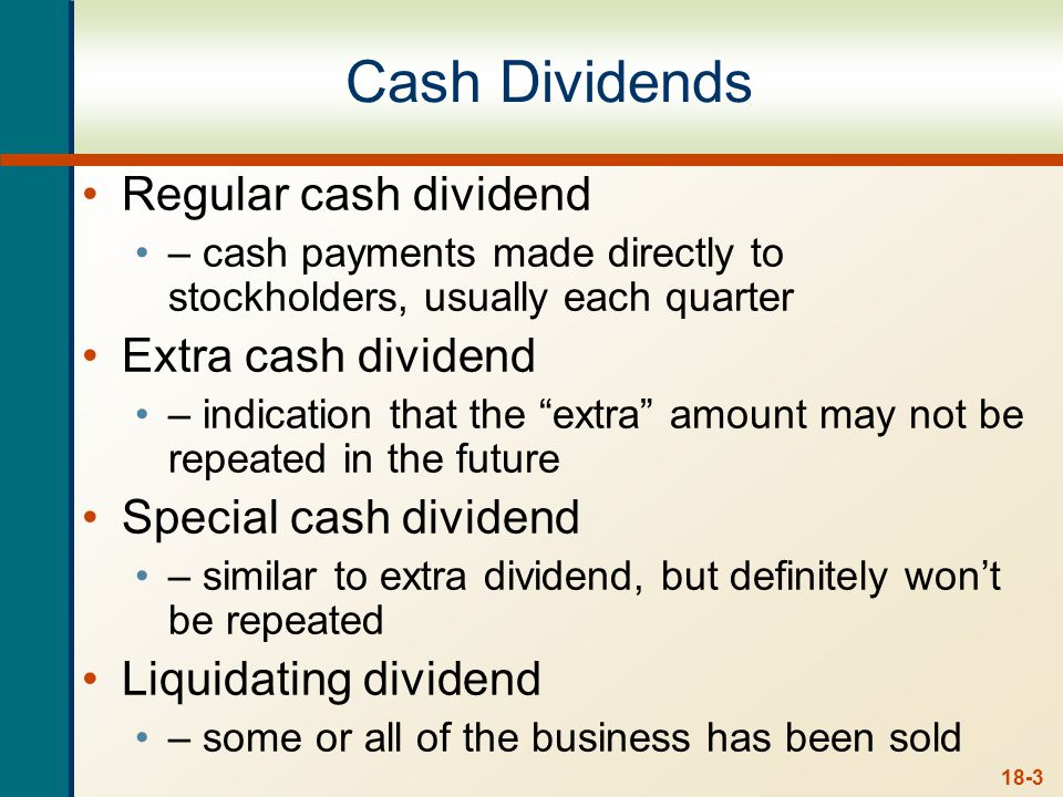 Dividend Payment - Chronology