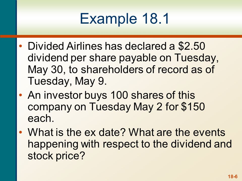 Example 18.1 continued.. Purchase: Tuesday 2nd of May