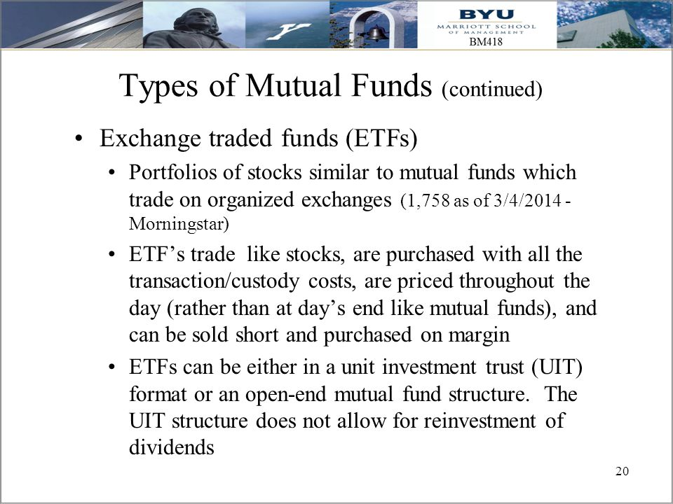 Types of Mutual Funds (continued)