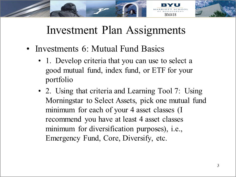 Investment Plan Assignments