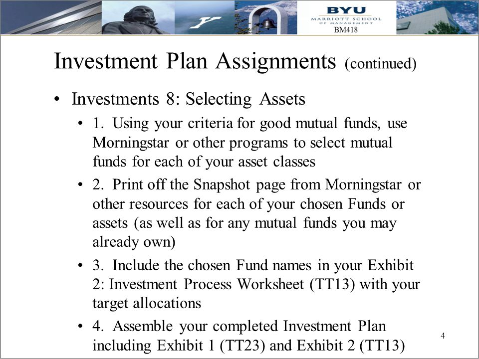 Investment Plan Assignments (continued)