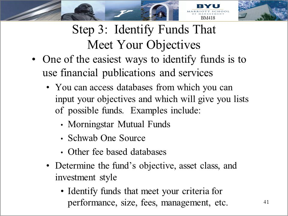 Step 3: Identify Funds That Meet Your Objectives