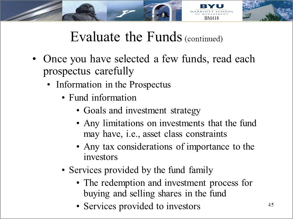 Evaluate the Funds (continued)