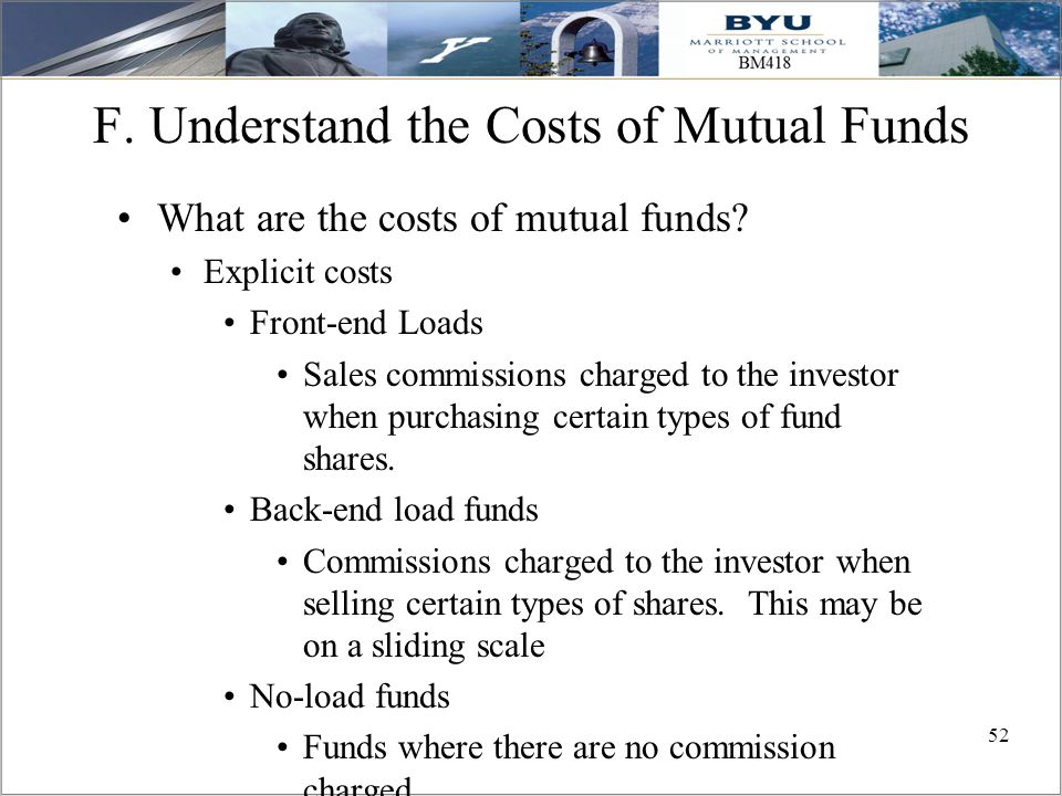 F. Understand the Costs of Mutual Funds