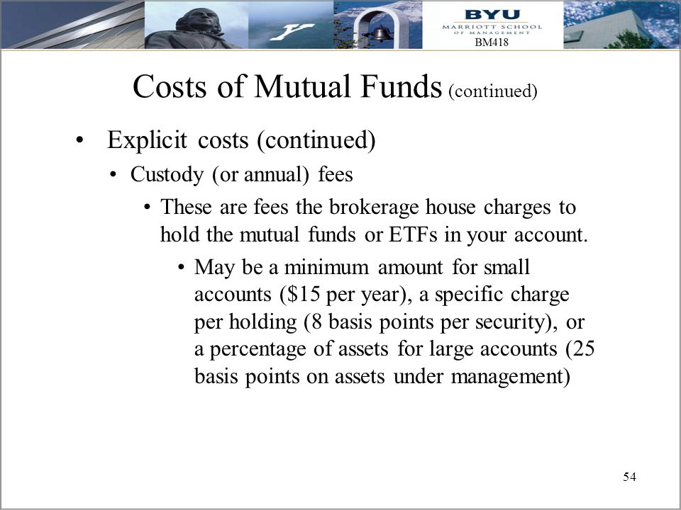 Costs of Mutual Funds (continued)