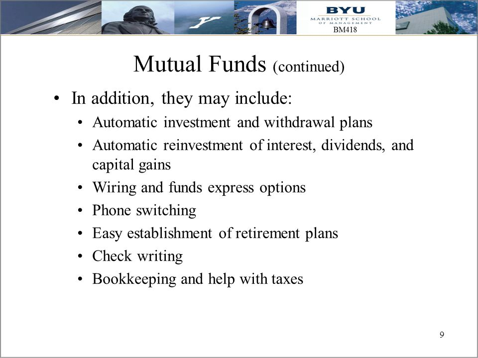 Mutual Funds (continued)