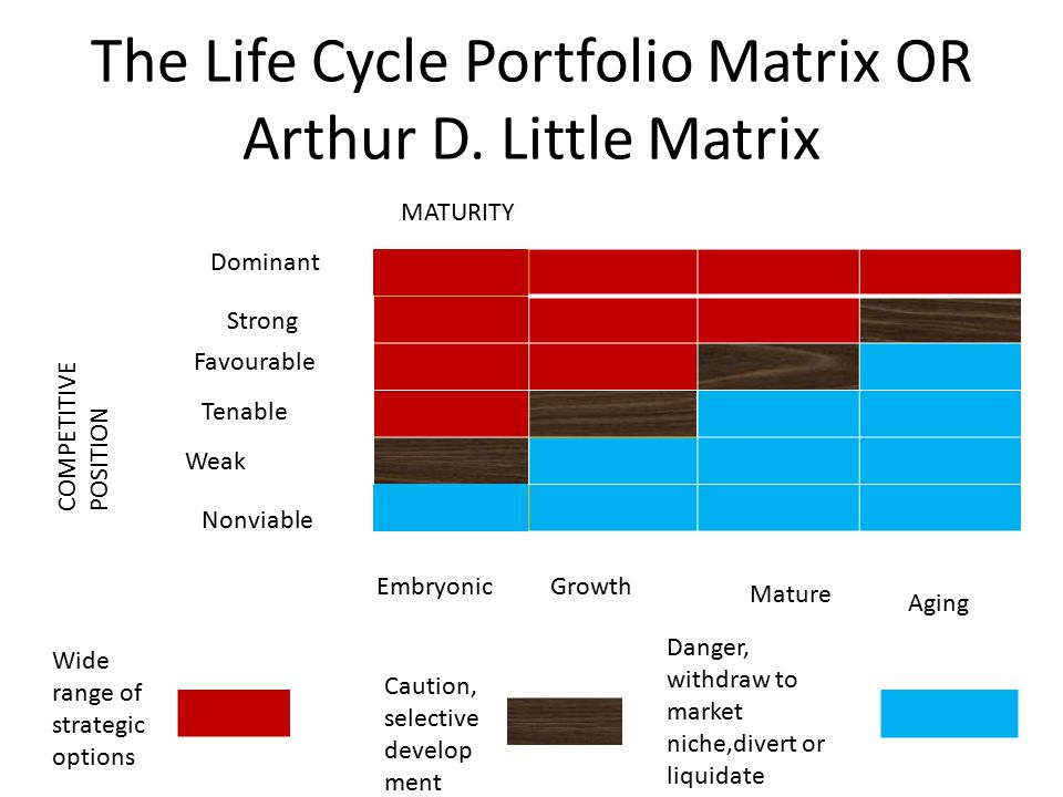 The Life Cycle Portfolio Matrix OR Arthur D. Little Matrix