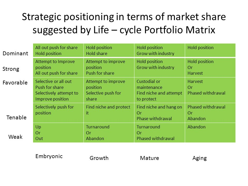 Strategic positioning in terms of market share suggested by Life – cycle Portfolio Matrix