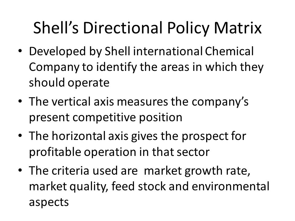 Shell's Directional Policy Matrix