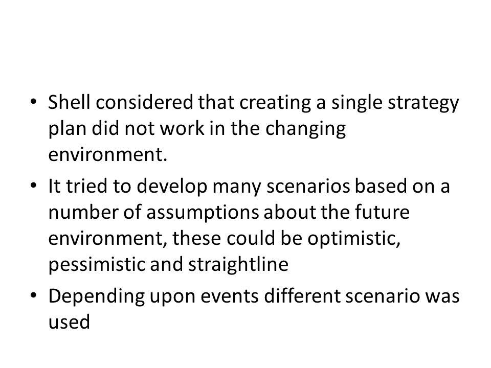 Shell considered that creating a single strategy plan did not work in the changing environment.