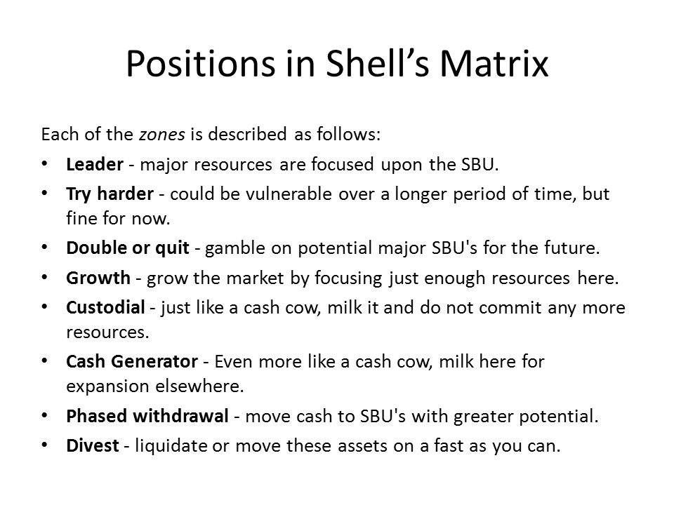 Positions in Shell's Matrix