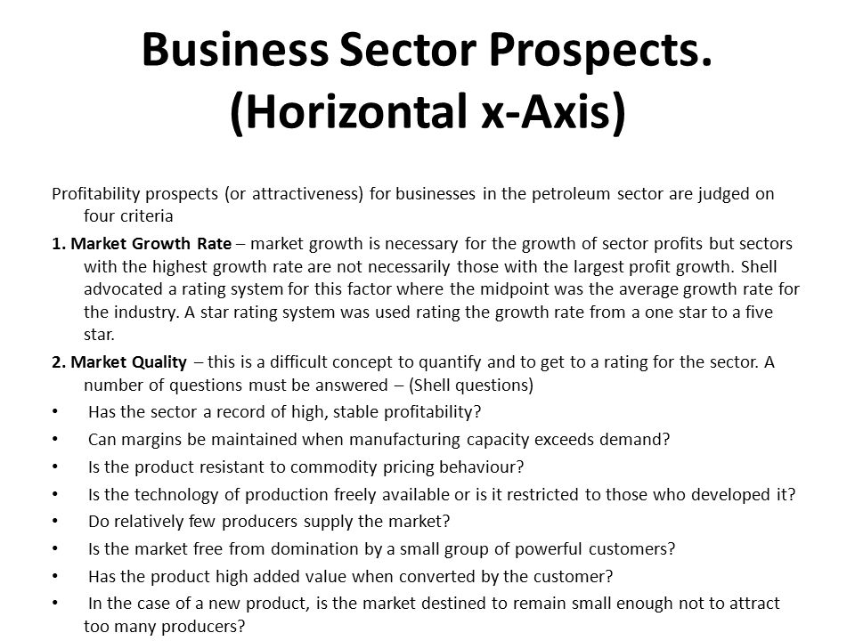 Business Sector Prospects. (Horizontal x-Axis)