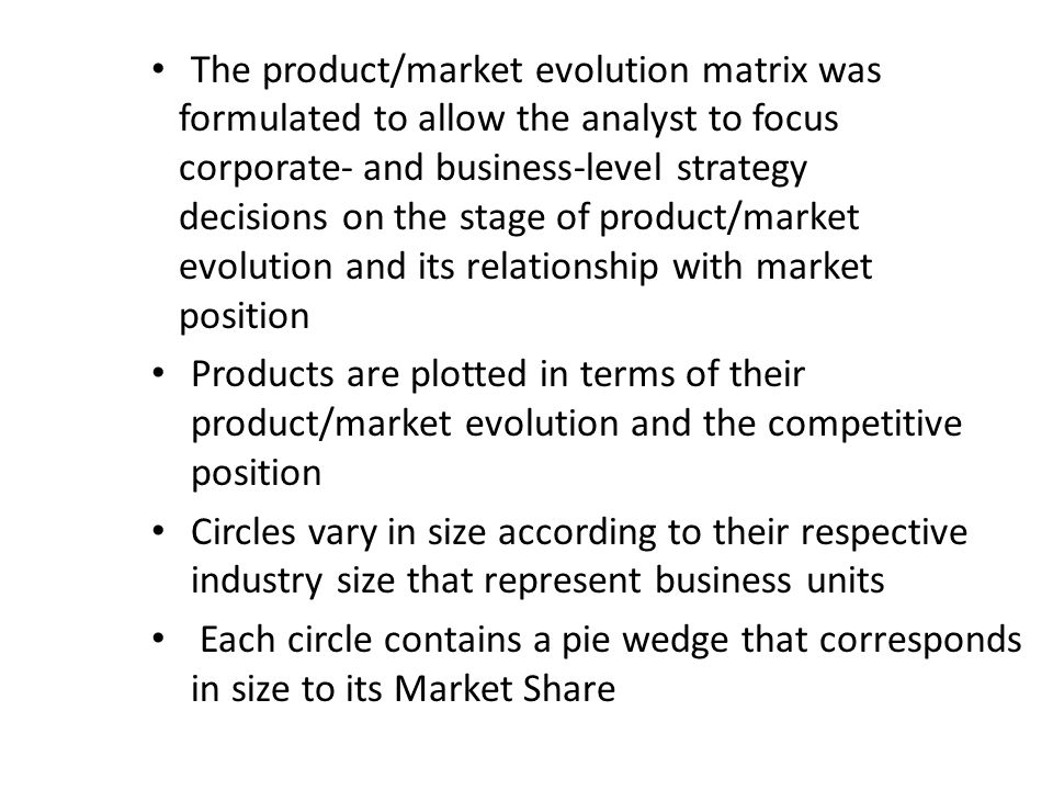 The product/market evolution matrix was