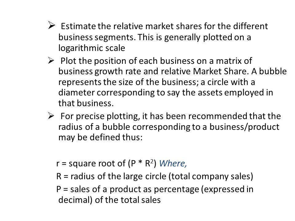 Estimate the relative market shares for the different business segments. This is generally plotted on a logarithmic scale
