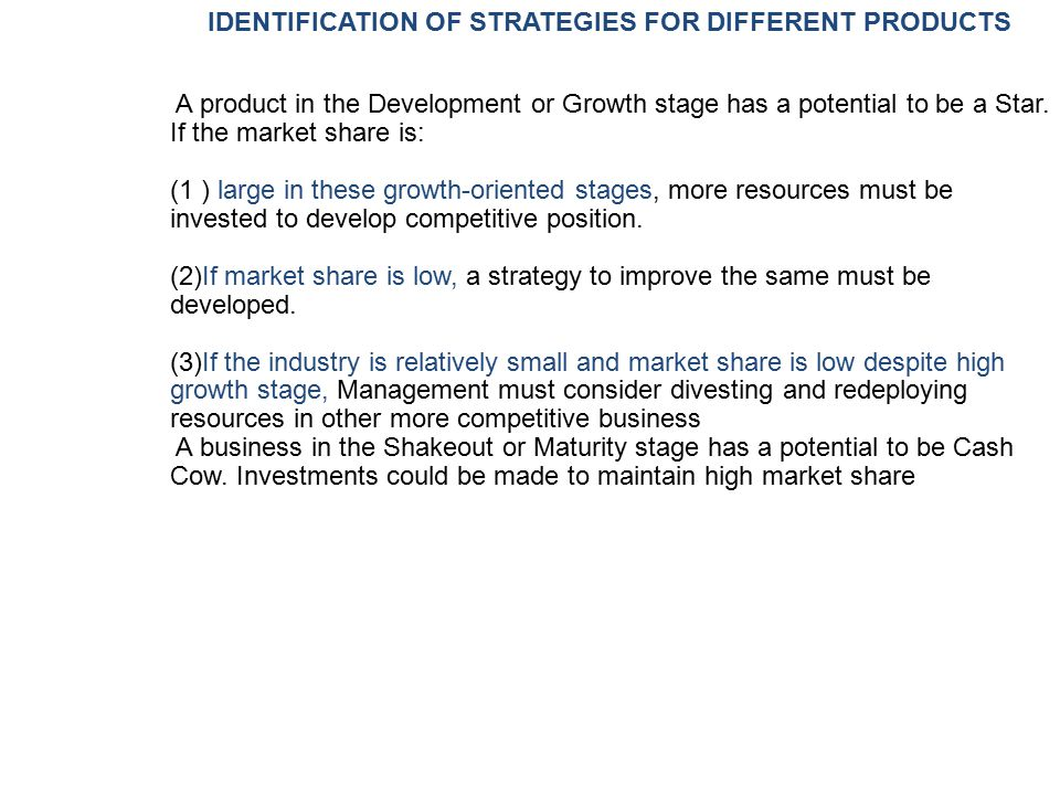 IDENTIFICATION OF STRATEGIES FOR DIFFERENT PRODUCTS