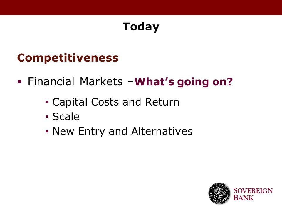 Financial Markets –What's going on