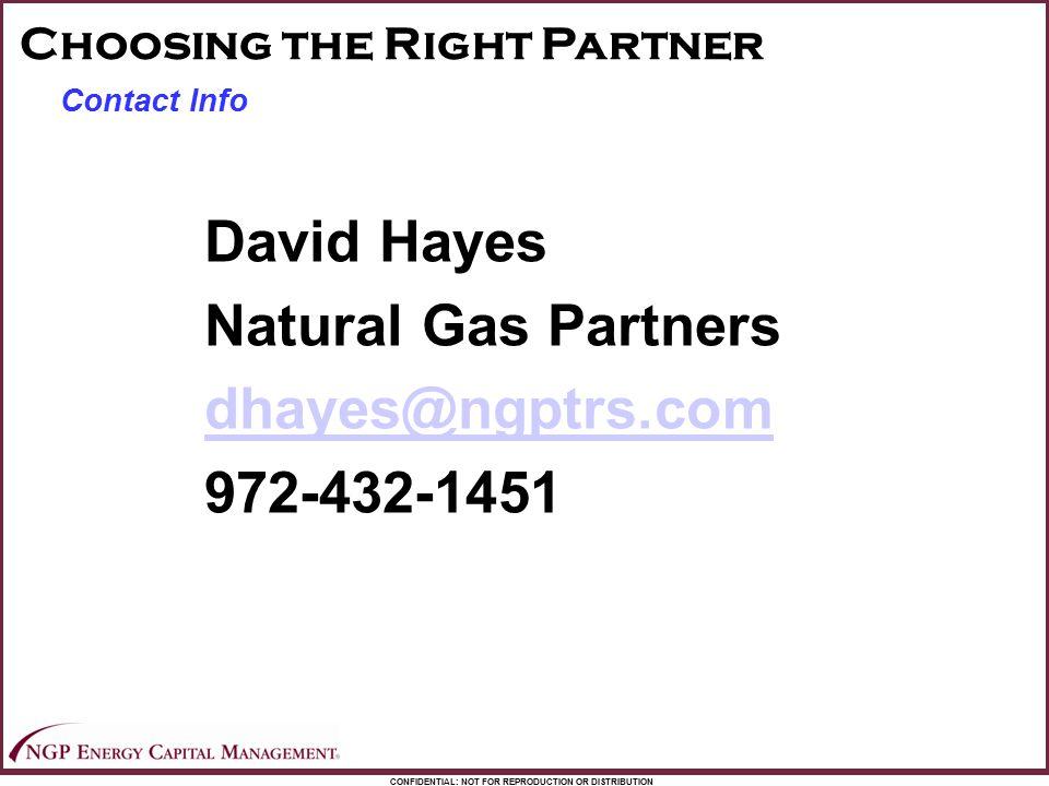 David Hayes Natural Gas Partners dhayes@ngptrs.com 972-432-1451