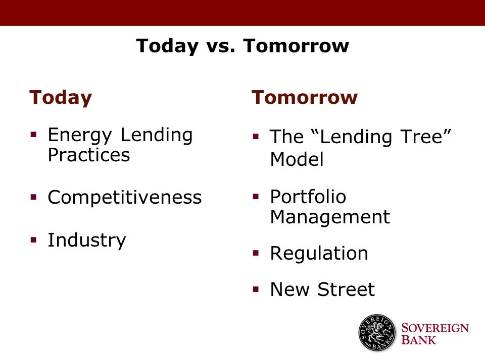 Today vs. Tomorrow Today. Energy Lending Practices. Competitiveness. Industry. Tomorrow. The Lending Tree Model.