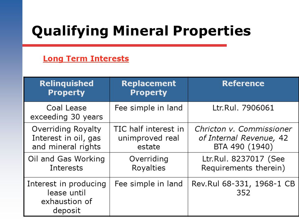 Qualifying Mineral Properties