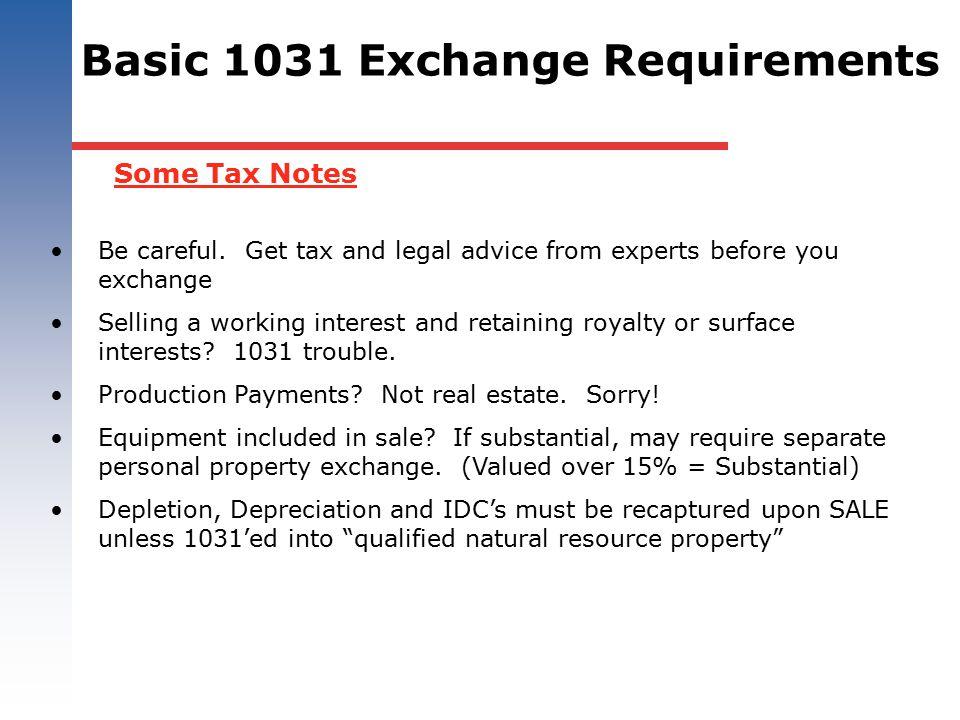 Basic 1031 Exchange Requirements