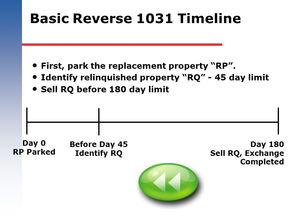 Basic Reverse 1031 Timeline