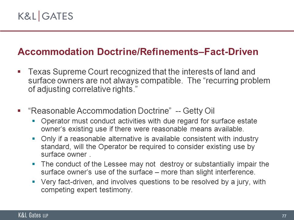 Accommodation Doctrine/Refinements–Fact-Driven