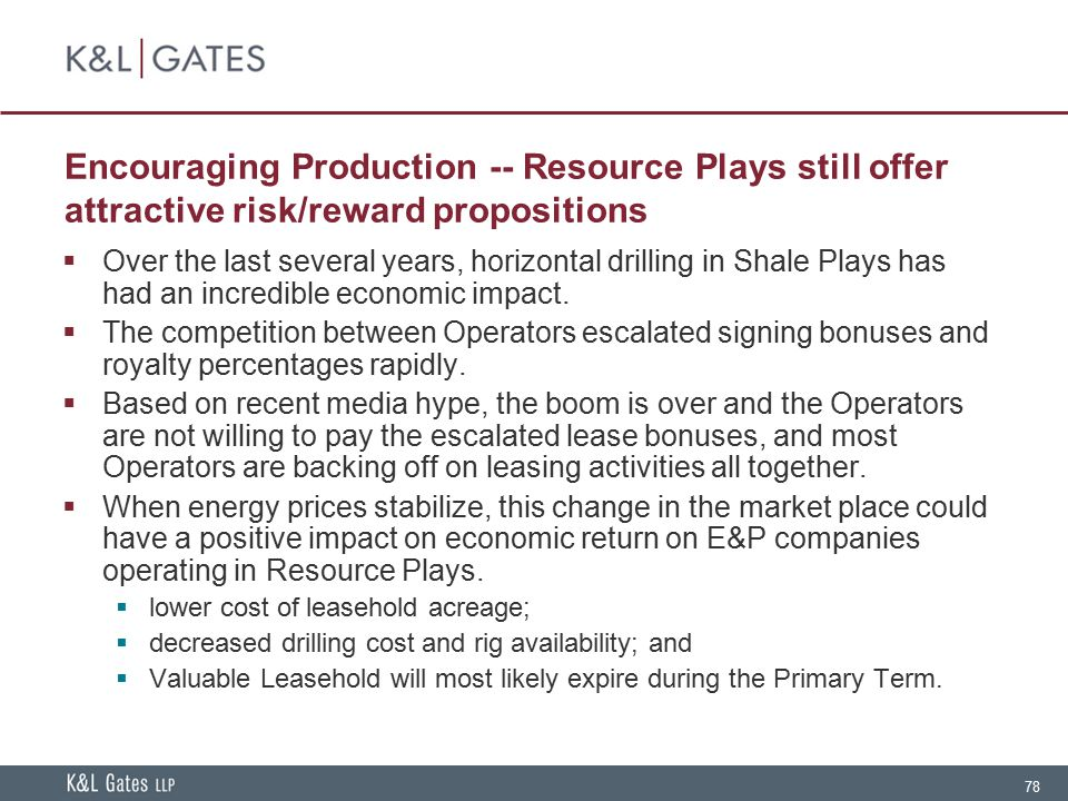 Encouraging Production -- Resource Plays still offer attractive risk/reward propositions