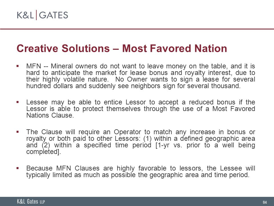 Creative Solutions – Most Favored Nation