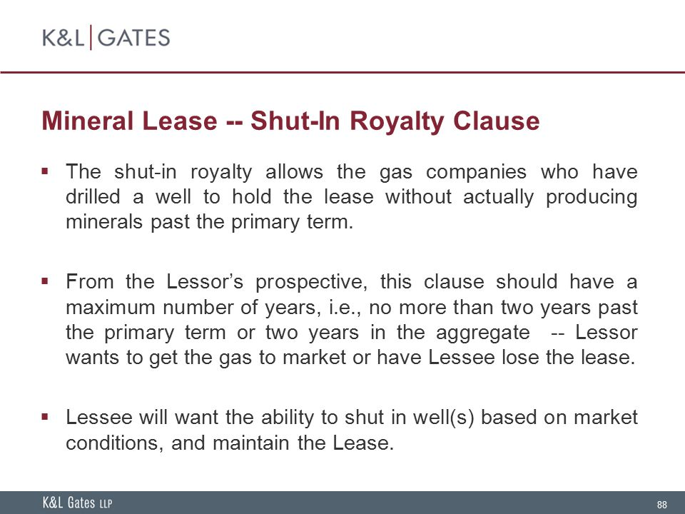 Mineral Lease -- Shut-In Royalty Clause