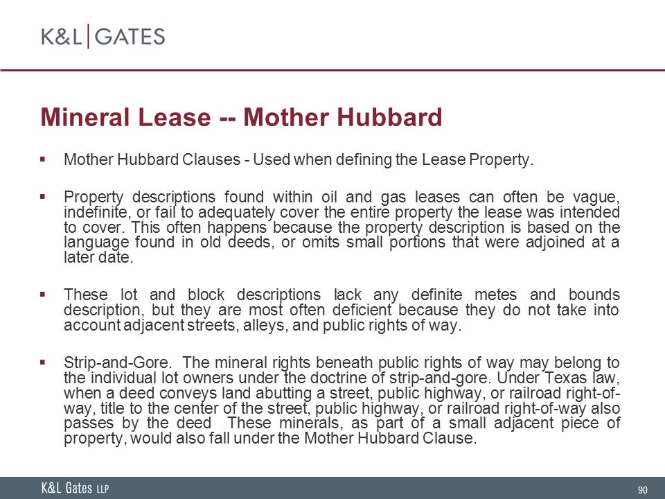 Mineral Lease -- Mother Hubbard