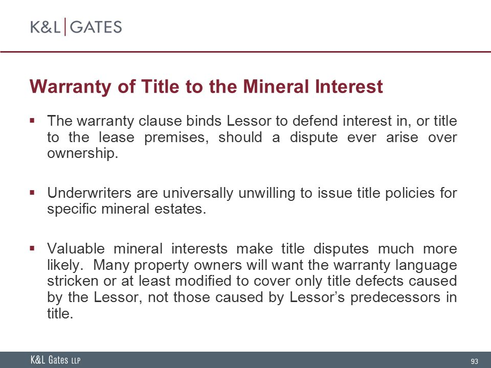 Warranty of Title to the Mineral Interest