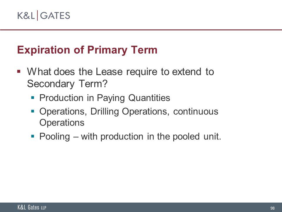 Expiration of Primary Term