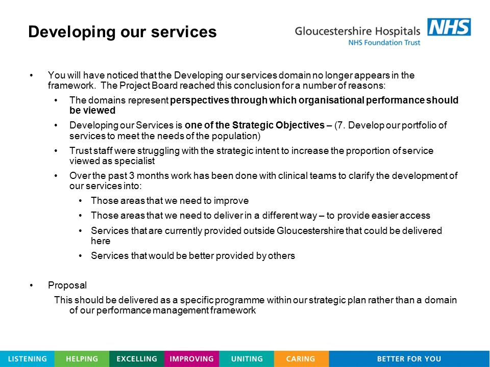Developing our services