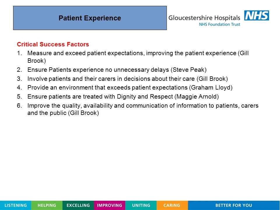 Patient Experience Critical Success Factors