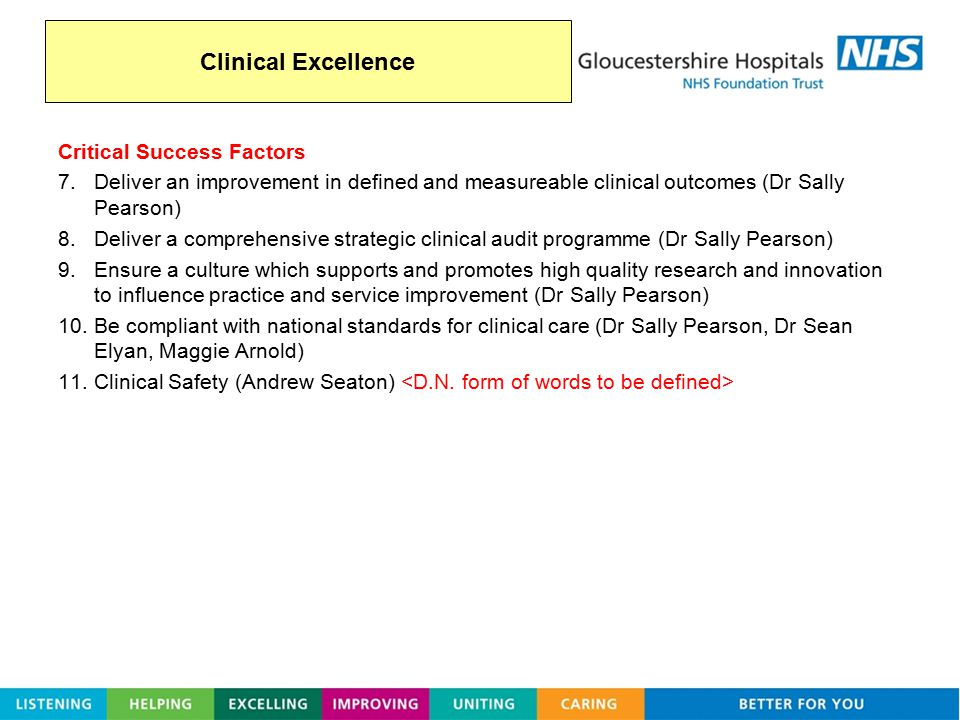 Clinical Excellence Critical Success Factors