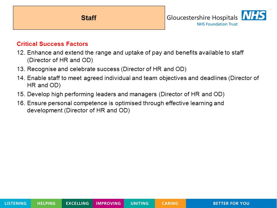 Staff Critical Success Factors