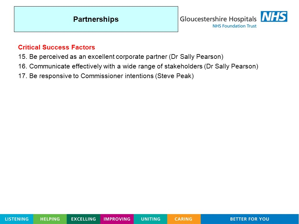 Partnerships Critical Success Factors