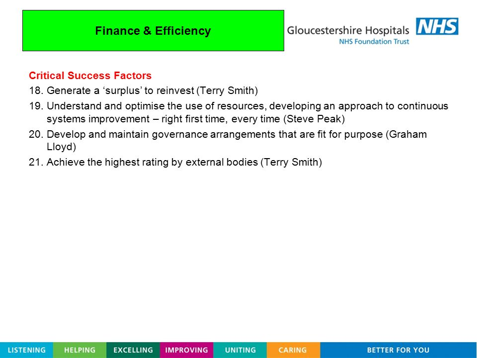 Finance & Efficiency Critical Success Factors