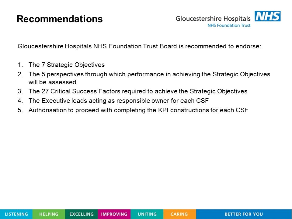Recommendations Gloucestershire Hospitals NHS Foundation Trust Board is recommended to endorse: The 7 Strategic Objectives.