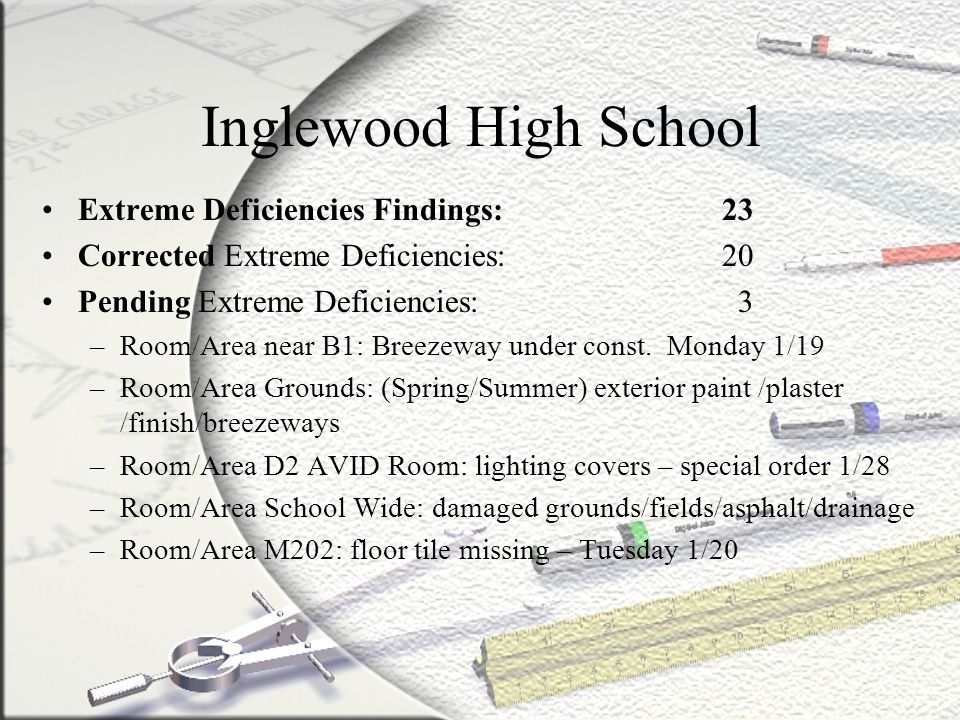 Inglewood High School Extreme Deficiencies Findings: 23