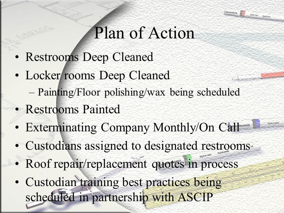 Plan of Action Restrooms Deep Cleaned Locker rooms Deep Cleaned