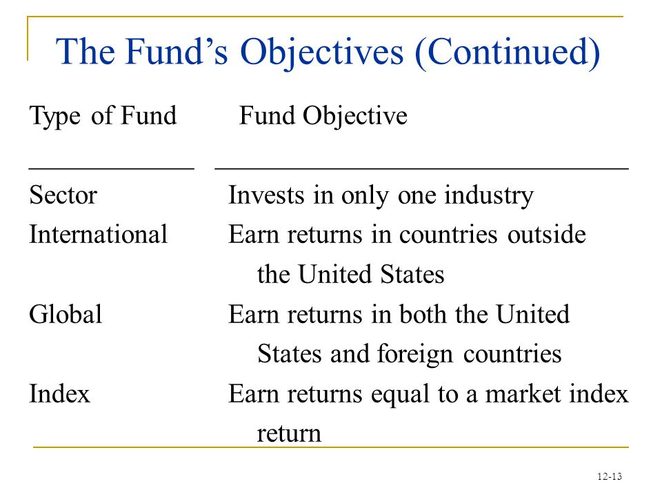 The Fund's Objectives (Continued)