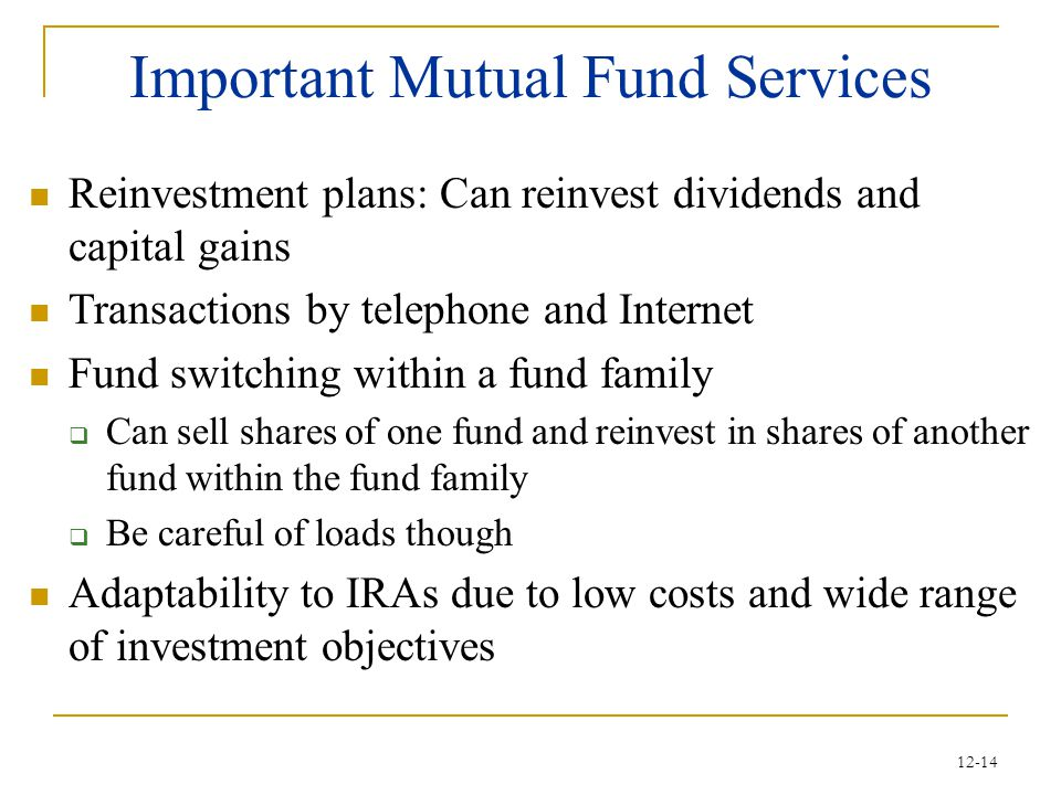 Important Mutual Fund Services