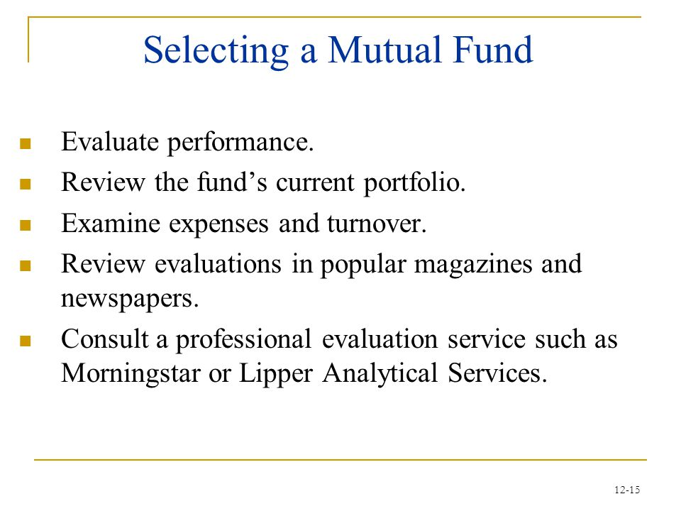 Selecting a Mutual Fund