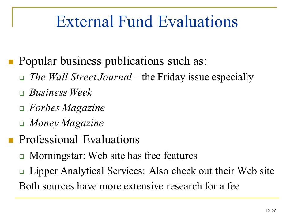 External Fund Evaluations
