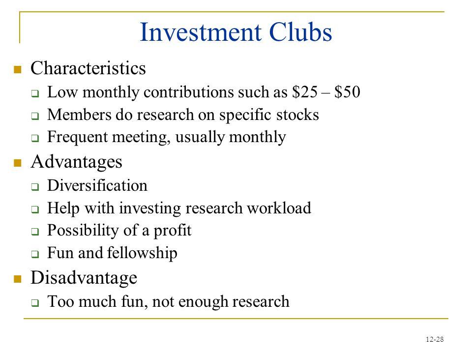 Investment Clubs Characteristics Advantages Disadvantage